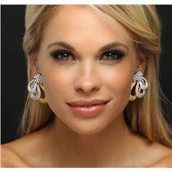 18KT Three-Tone Gold 6.21ctw Diamond Earring