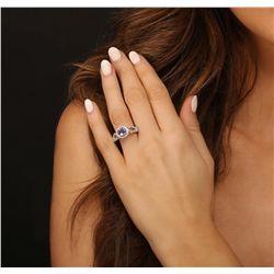 18KT White Gold 1.19ct Tanzanite and Diamond Ring