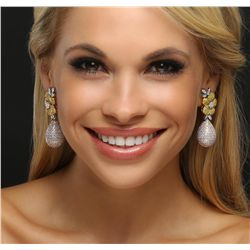 18KT Three-Tone Gold 12.35ctw Diamond Earrings