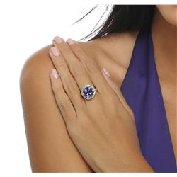 14KT White Gold 5.51ct Tanzanite and Diamond Ring