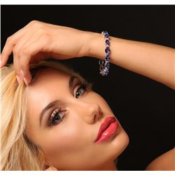14KT White Gold 22.56ctw Tanzanite and Diamond Bracelet