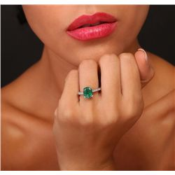 14KT White Gold 2.32ct Emerald and Diamond Ring