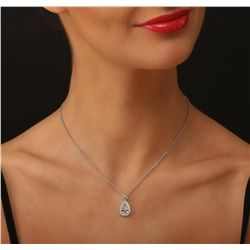 18KT White Gold 2.34ctw Diamond Pendant With Chain With Chain