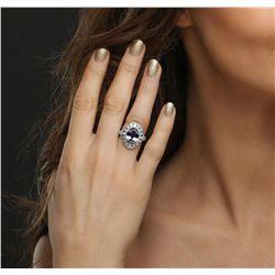 14KT White Gold 4.87ct Tanzanite and Diamond Ring