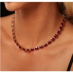 14KT Yellow Gold 58.11ctw Ruby and Diamond Necklace