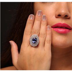 14KT White and Yellow Gold 6.46ct Tanzanite and Diamond Ring
