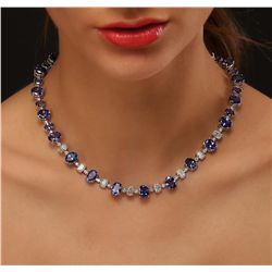14KT White Gold 51.10ctw Tanzanite and Diamond Necklace