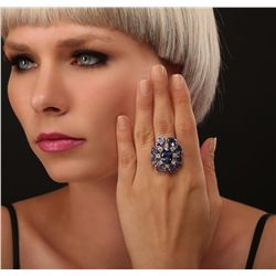 14KT White Gold 18.66ctw Tanzanite Diamond Ring