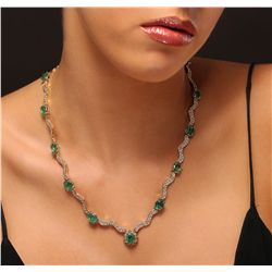 14KT Yellow Gold 11.03ctw Emerald Necklace