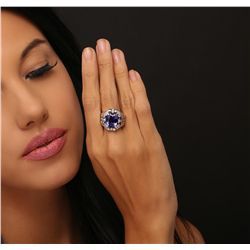 14KT White Gold 7.92ct Tanzanite and Diamond Ring