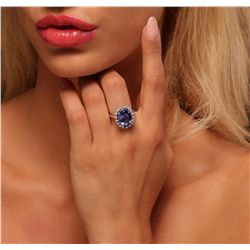 14KT White Gold 6.53ct Tanzanite and Diamond Ring