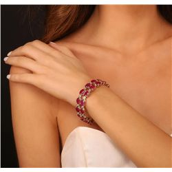 14KT Yellow Gold 41.72ctw Ruby and Diamond Bracelet