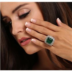 14KT White Gold 12.69ct GIA Certified Emerald and Diamond Ring
