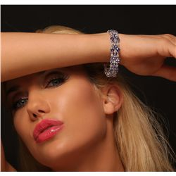 14KT White Gold 24.17ctw Tanzanite and Diamond Bracelet