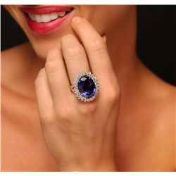 14KT Yellow Gold 21.26ct Tanzanite and Diamond Ring