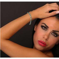 14KT White Gold 7.56ctw Emerald and Diamond Bracelet