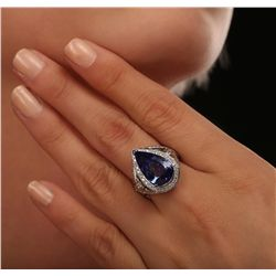 14KT White Gold 7.40ct GIA Certified Tanzanite and Diamond Ring