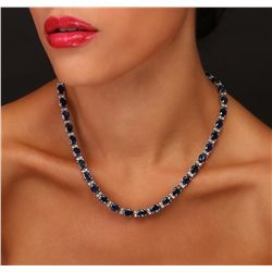14KT White Gold 49.92ctw Sapphire and Diamond Necklace