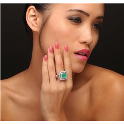 14KT White Gold 3.35ct Emerald and Diamond Ring