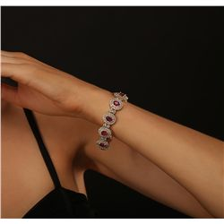 14KT Yellow Gold 10.89ctw Ruby and Diamond Bracelet