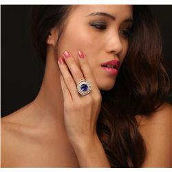 18KT White Gold 9.43ct Tanzanite and Diamond Ring