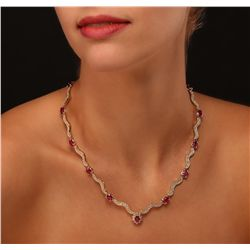 14KT Yellow Gold 14.94ctw Ruby and Diamond Necklace