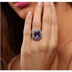 14KT White Gold 6.93ct Tanzanite and Diamond Ring