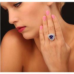 14KT White Gold 6.63ct Tanzanite and Diamond Ring