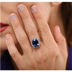 14KT White Gold 7.13ct Sapphire and Diamond Ring
