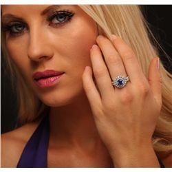 14KT White Gold 1.77ct Tanzanite and Diamond Ring