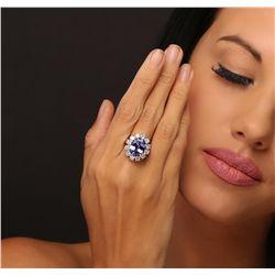14KT White Gold 6.42ct Tanzanite and Diamond Ring