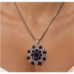 14KT White Gold 32.34ctw Sapphire & Diamond Pendant with Chain