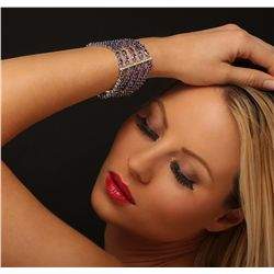 14KT White Gold 48.30ctw Tanzanite and Diamond Bracelet