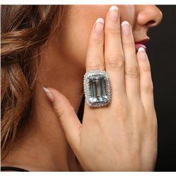 14KT White Gold 39.96ct GIA Certified Aquamarine and Diamond Ring