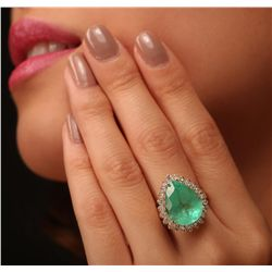 14KT Yellow Gold 10.11ct Emerald and Diamond Ring