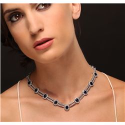 14KT White Gold 15.64ctw Sapphire and Diamond Necklace