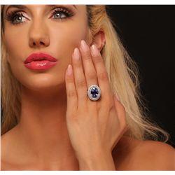 14KT White Gold 6.23ct Tanzanite and Diamond Ring