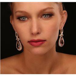 14KT Yellow Gold 21.98ctw Morganite and Diamond Earrings