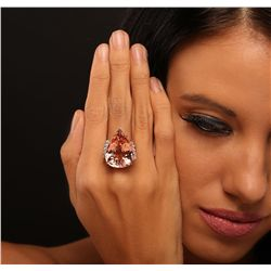 14KT Rose Gold 27.75ct GIA Certified Morganite and Diamond Ring