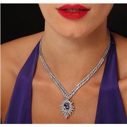 14KT White Gold 3.87ct Tanzanite and Diamond Necklace