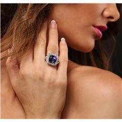 14KT White Gold 9.59ct GIA Cert Tanzanite and Diamond Ring