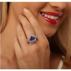 14KT White Gold 5.47ct Tanzanite and Diamond Ring