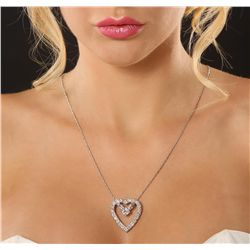 14KT White Gold 3.96ctw Diamond Heart Pendant with Chain