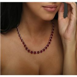 14KT Rose Gold 69.00ctw Ruby and Diamond Necklace