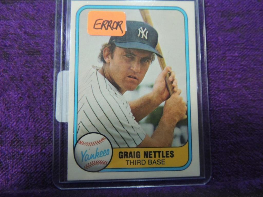 1981 Fleer Graig Nettles Error Baseball Card