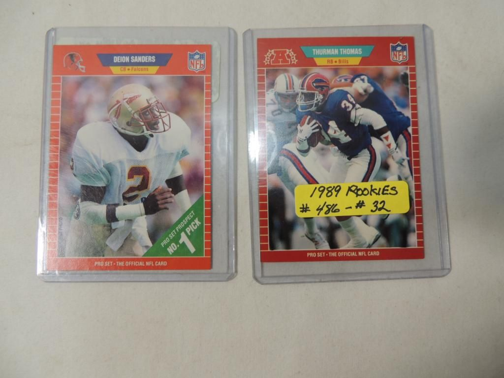 Lot 2 1989 Pro Set Football Player Rookie Cards