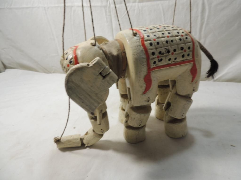 ANTIQUE WOODEN MARIONETTE ELEPHANT PUPPET