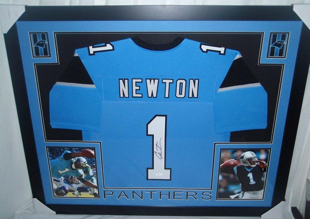 f0ebc5e65 Image 1 : Cam Newton Signed Panthers 35x43 Custom Framed Jersey (JSA COA)  ...