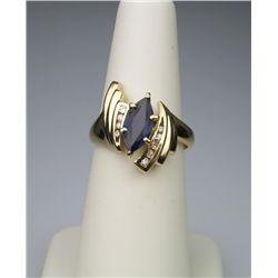 Dynamic Cobalt Blue Sapphire and Diamond Ring