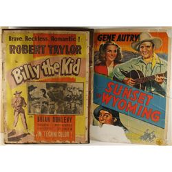 Lot of 2 Movie Posters. Billy the Kid & Sunset in